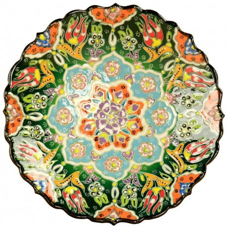 Assiette artisanale verte Selin Verte 18cm au décor fleuri