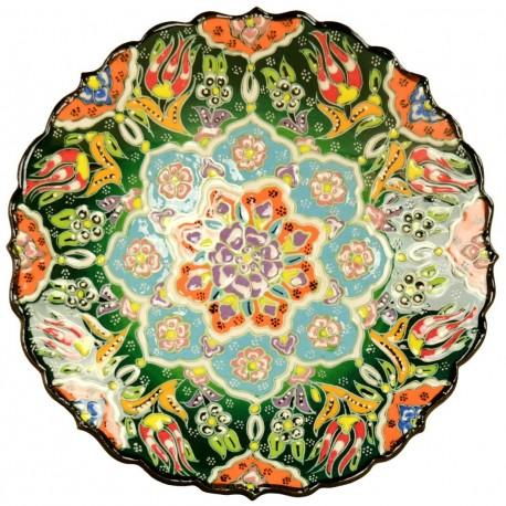 Assiette orientale ottomane Selin Verte 18cm avec fleurs (style Céramique en Relief)