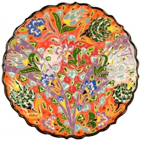 Assiette originale Selin Orange 18cm en faïence décorée de motifs fleuris colorés
