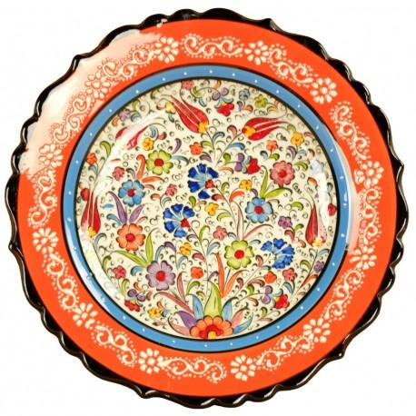 Assiette déco bohème orange Elmas 25cm, design exotique pour idée cadeau original