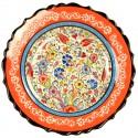 Assiette déco bohème Elmas orange 25cm, bords chantournés et frise