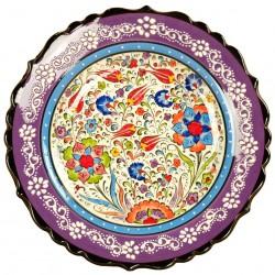 Assiette murale violette Elmas 25cm avec frise blanche
