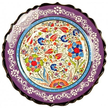 Assiette murale décorative violette Elmas, bord chantourné et frise blanche