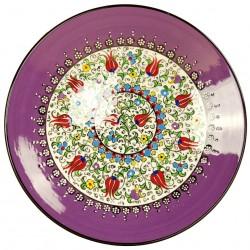 Assiette en poterie orientale Elmas violette 25cm