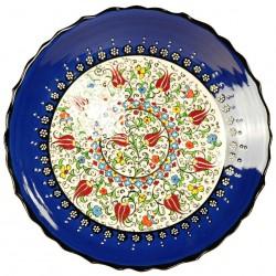 Assiette bleue Elmas 25cm à bord chantourné
