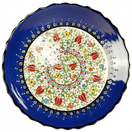 Assiette ethnique ottomane Elmas Bleu nuit 25cm avec motifs fleuris et bords chantournés