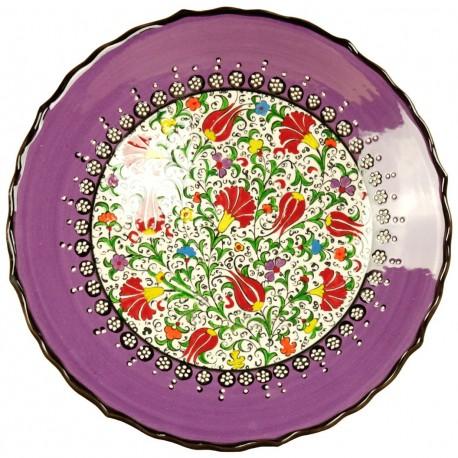Vaisselle marocaine, assiette orientale violette Elmas 25cm, décor fleuri à bord chantourné