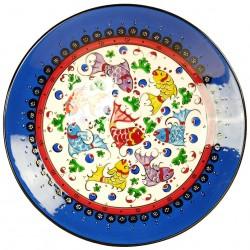 Assiette déco bleue Elmas 25cm avec poissons
