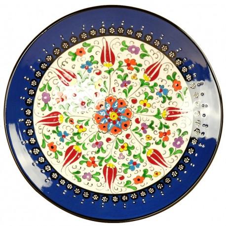 Vaisselle artisanale, Assiette en céramique bleue Elmas 25cm