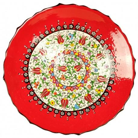 Assiette orientale rouge en céramique Elmas Rouge 25cm à bord chantourné