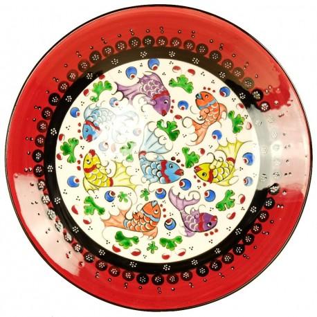 Assiette poisson orientale Elmas Rouge 25cm, céramique artisanale