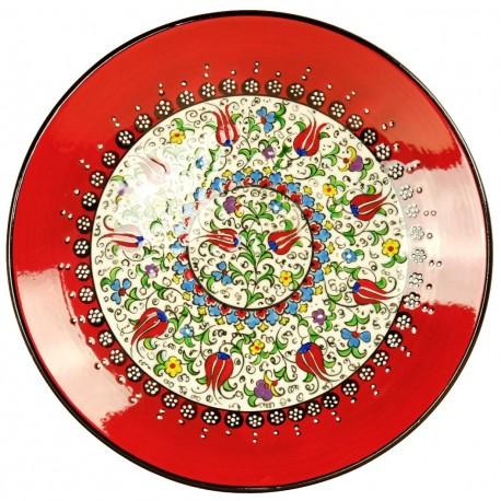 Assiette en poterie artisanale rouge Elmas 25cm décorée de fleurs (style Millenium)