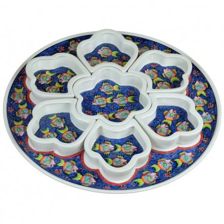 Idée cadeau insolite, coupelles à apéritif Balik bleu décorées de poisson