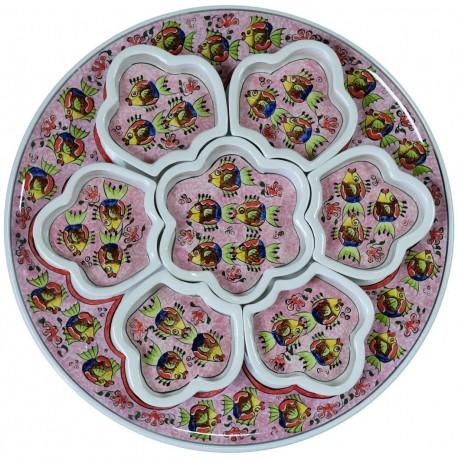 Service à apéritif original rose Balik en céramique décorée poissons