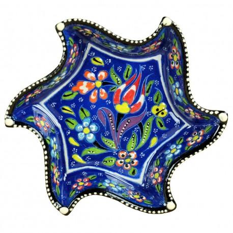 Bol bleu en lune et en étoile Tezel Bleu, poterie turque décorée de fleurs