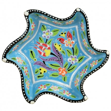 Cadeau atypique, bol bleu cyan en étoile et lune Tezel