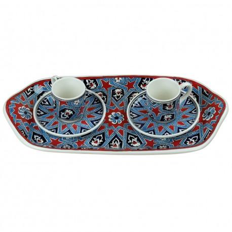 Set à café oriental Melis, 2 tasses 1 plateau, décor géomtérique