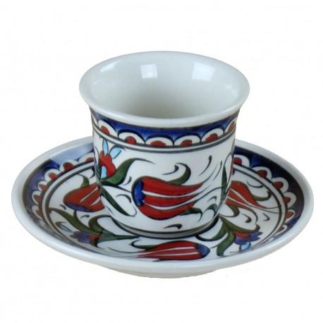 2 Tasses fleuries orientales Lalé sans anse avec motifs floraux (style Iznik)