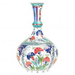Artisanat turc, soliflore oriental en céramique d'Iznik Ceylan 30cm avec motifs floraux