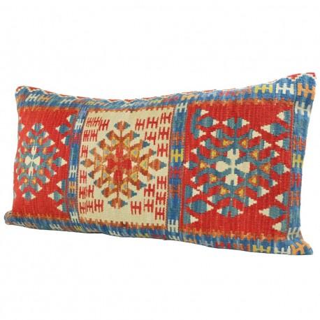 Coussin déco en laine, kilim oriental 100x60 Kanesh