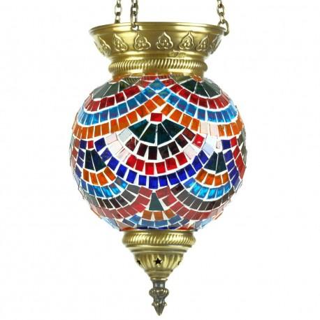 Lampe orientale en mosaïque multicolore Lamassu