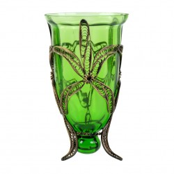Bougeoir artisanal Yagûth vert et décoration bohème