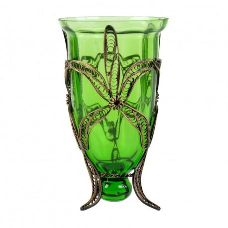 Bougeoir photophore artisanal Yagûth vert pour décoration bohème