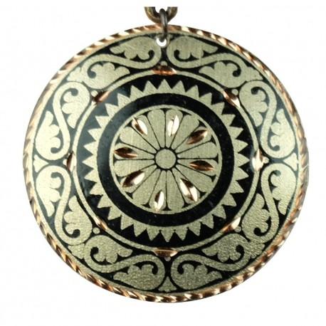 Pendentif original noir et argenté en cuivre Cyrus