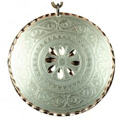 Collier ethnique rond argenté Cyrus style bohème