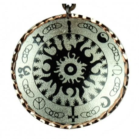 Pendentif bohème noir et argenté en cuivre Kaveh