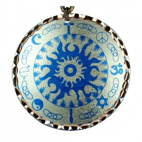 Collier 4 symboles religieux bleu et argenté Kaveh
