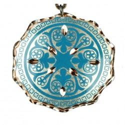 Pendentif turquoise artisanal en cuivre Turan