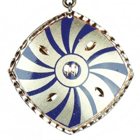 Collier fantaisie, pendentif oriental violet en cuivre Dânâ
