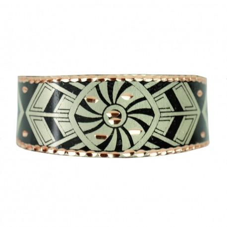 Bracelet artisanal noir et argenté en cuivre Reyhan