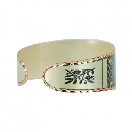 Bracelet artisanal noir et argenté en cuivre Kiana