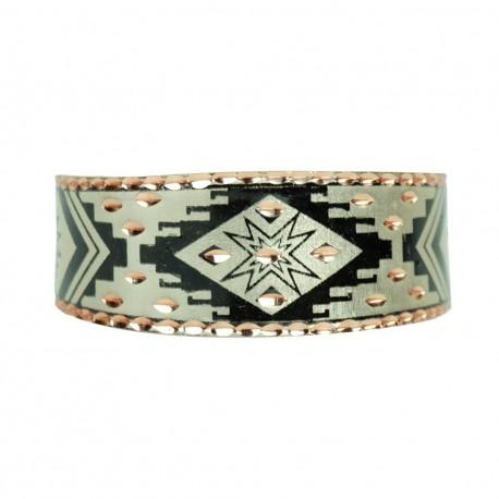 Bracelet oriental en cuivre Feriel noir argenté