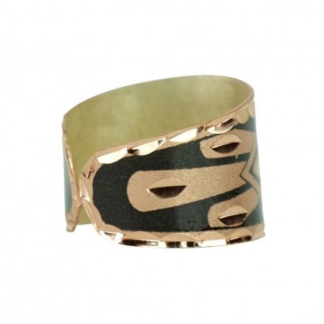 Bague en cuivre noire artisanale Mir