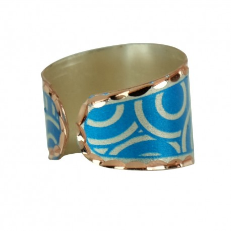Bague artisanale bleue en cuivre Turaj