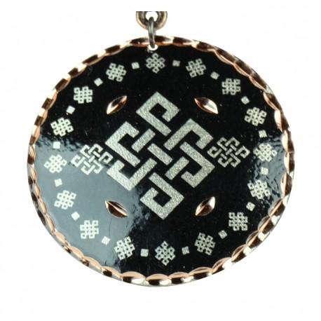 Pendentif fantaisie noir en cuivre Yashar, style ethnique