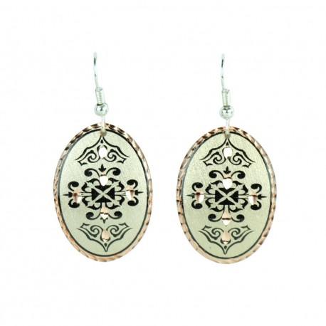 Boucles d'oreille orientales ovales noires et argentées en cuivre Dina