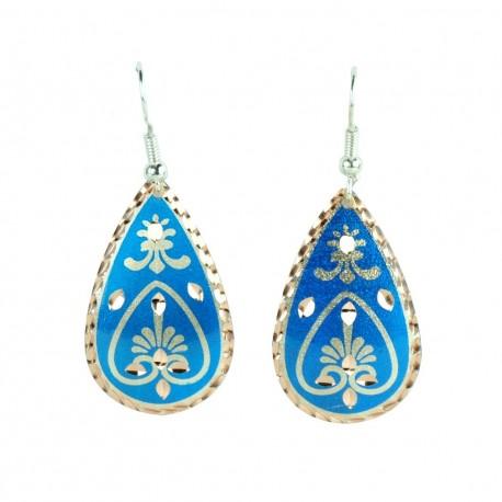 Boucles d'oreille bleues en larme Beeta style oriental