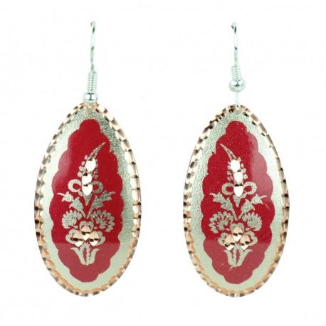 Boucles d'oreille ethniques rouges et argentées Laleh, une Idée Cadeau Originale