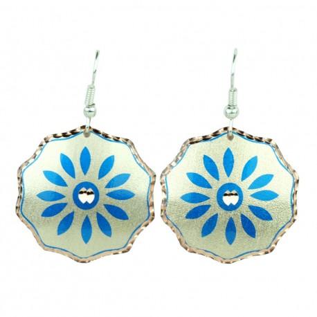 Boucles d'oreilles artisanales bleues en cuivre Saeedeh