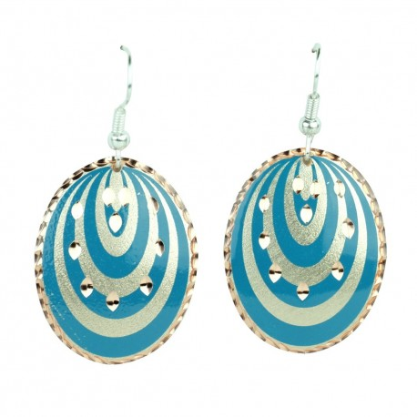Boucles d'oreilles ethniques fantaisie en cuivre bleues Goli