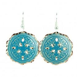 Boucles d'oreilles turquoise en cuivre Marjan, design ethnique