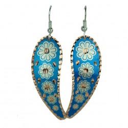 Boucles d'oreilles ethniques Ladan bleues