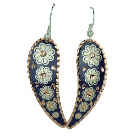 Boucles d'oreilles artisanales violettes Ladan, design oriental