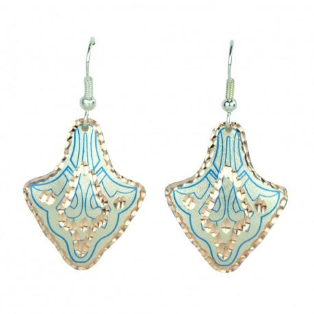 Boucles d'oreilles tribales orientales bleues Payvand
