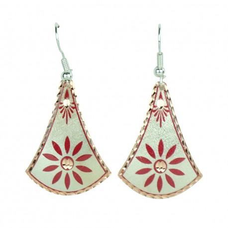 Boucles d'oreilles originales rouges en cuivre Javaneh