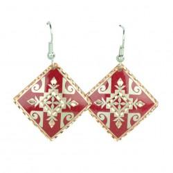 Boucles d'oreilles ethniques carrées Zana rouges